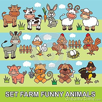 Set funny cartoon farm animals