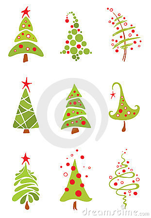 Set of funny christmas trees