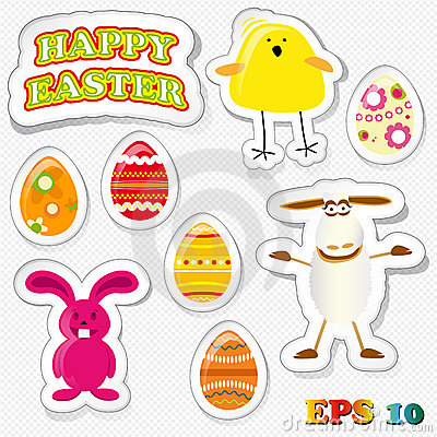 Set of funny easter stickies