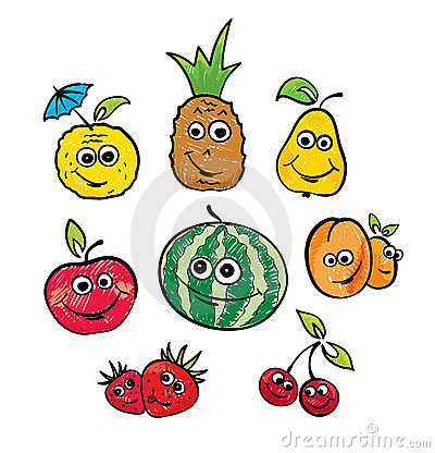 A set of funny fruits
