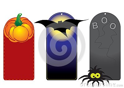Set of funny halloween tags