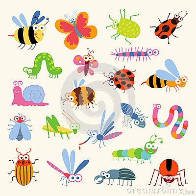 Free Set Funny Insects Royalty Free Stock Image - 64334156