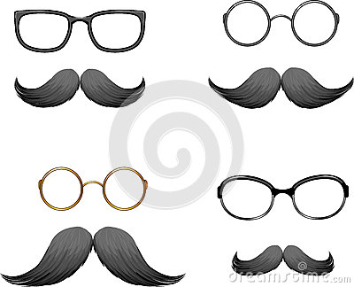 Set of funny masks (mustache and glasses)