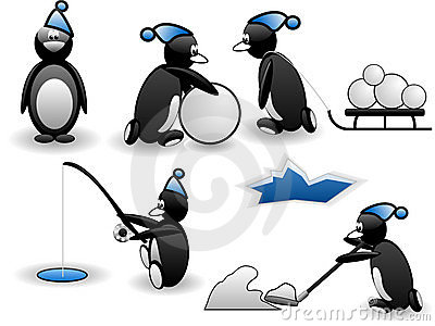 Set of funny penguins in action