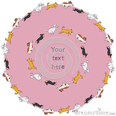 Set of funny running dog circle frames