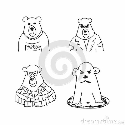 Set of funny sketches of bear. Imitation of children`s drawings. Sketchy, scribble. Vector illustration. Vector Illustration