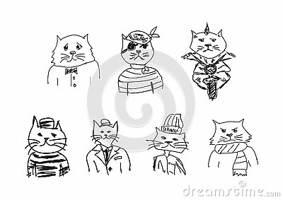 Set of funny sketches of cats. Imitation of children`s drawings. Sketchy, scribble. Vector illustration. Vector Illustration