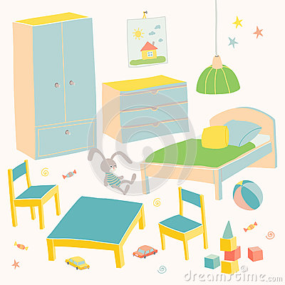 Set of furniture for children room. Kids small furniture for little boy.Bed, table with chairs, wardrobe and chest. Hand Vector Illustration