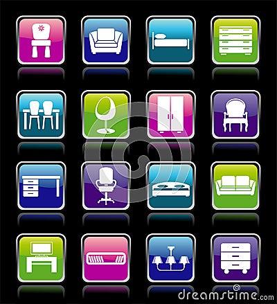 Set of furniture icons.