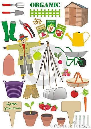 Set of gardening signs