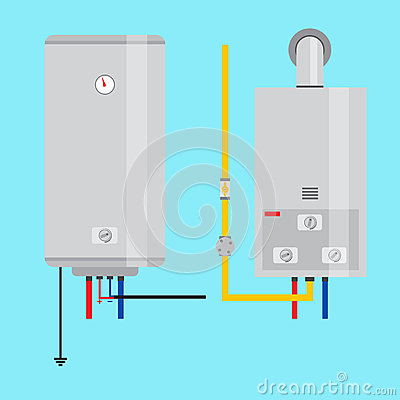 set of gas water heater and electric water heater flat Sink Clip Art Sink Clip Art