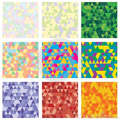 Set of 9 geometric pattern. Mosaic. Texture with triangles, rhombus. Abstract background an be used for wallpaper Vector Illustration