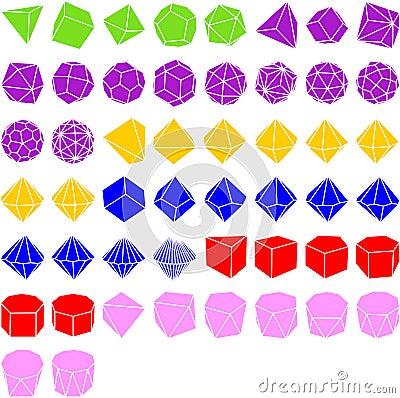 Set of geometrical solids