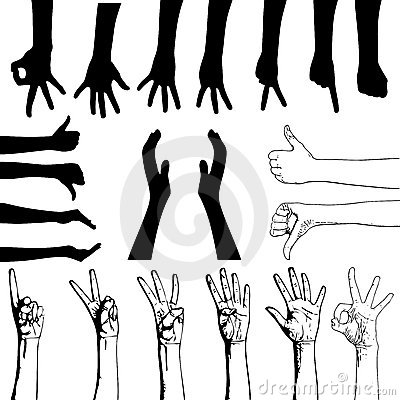 Set of gesturing hands