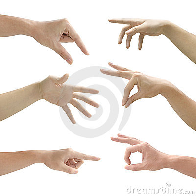 Set of gesturing hands isolated on white