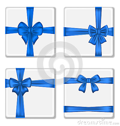 Set gift boxes with blue bows isolated on white ba
