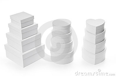 Set of gift boxes with clipping path