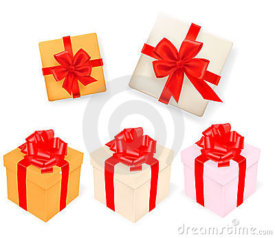 Set of gift boxes with ribbons. Vector