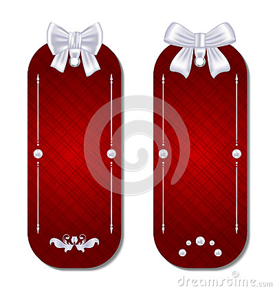 Set of gift cards with bows