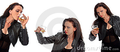 Set of girl with glass of whiskey