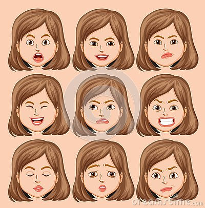 Set of girl head with different facial expression Vector Illustration