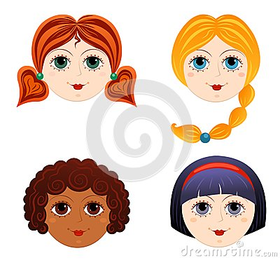 Set of girls faces 3
