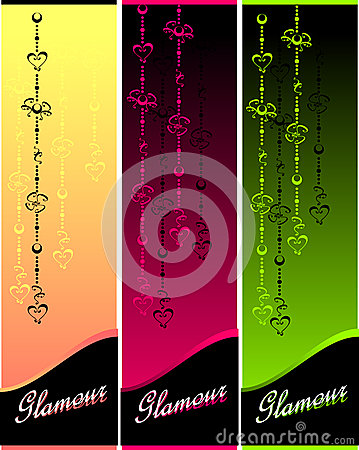Set Glamour banners with hearts and flowers
