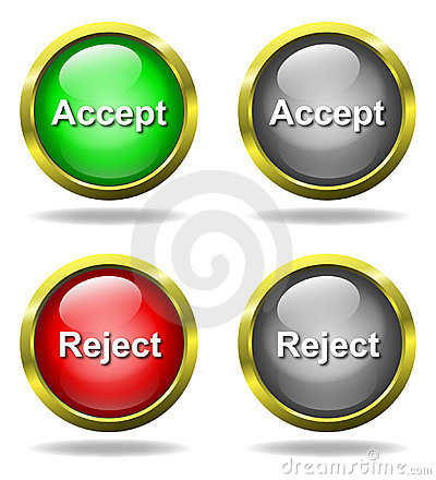 Set of glass Accept - Reject buttons