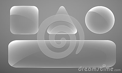 Set of glass figures of various shapes on a gray b