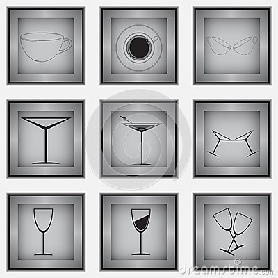 Set of 9 glass icons