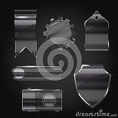 Set of glass transparent icons