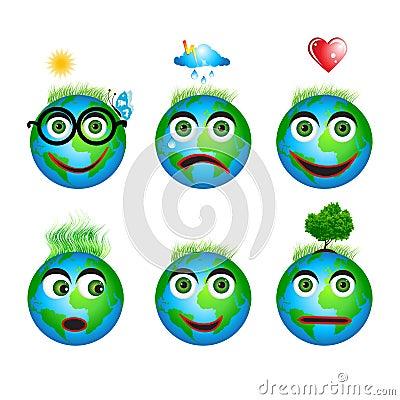 Set globe icons, smiles