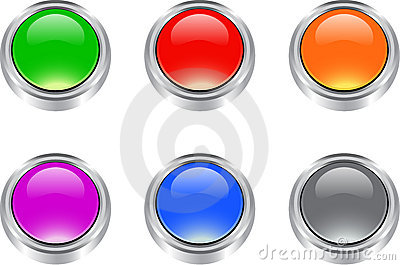 Set of  glossy blank buttons