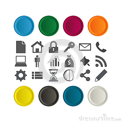 Set of glossy Buttons with few business icons.