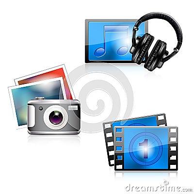 Set of glossy media icons