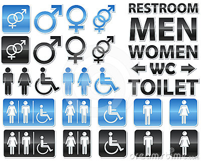 Set of glossy signs for restrooms