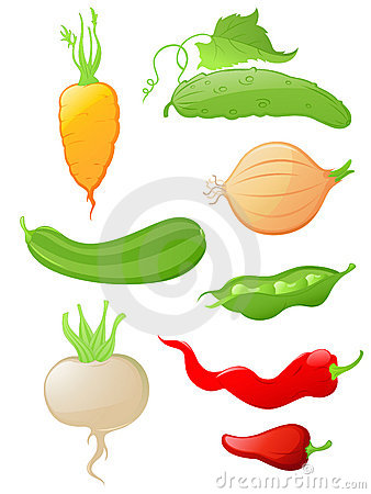 Set of glossy vegetable icons