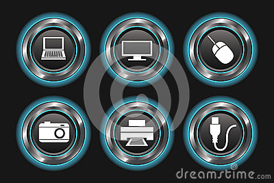 Blue Glowing Metallic Device Buttons
