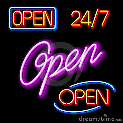 Set of glowing neon OPEN signs