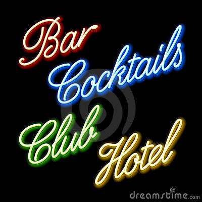 Set of glowing neon signs