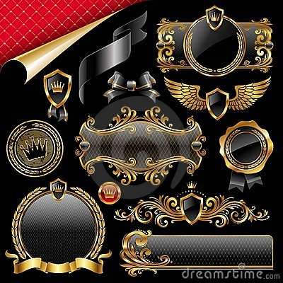 Set of gold and black design elements