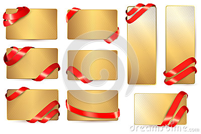 Set of gold business cards with red ribbons.