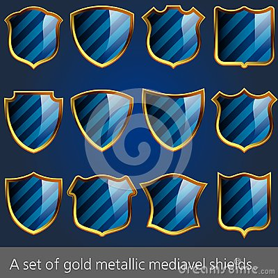 A set of gold metallic mediavel shields.