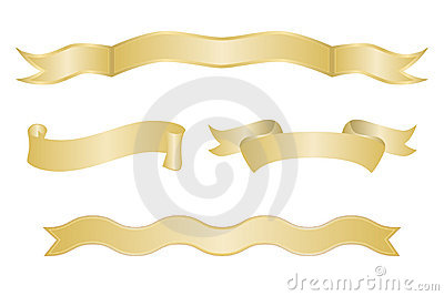 Set of Gold Ribbon Banners