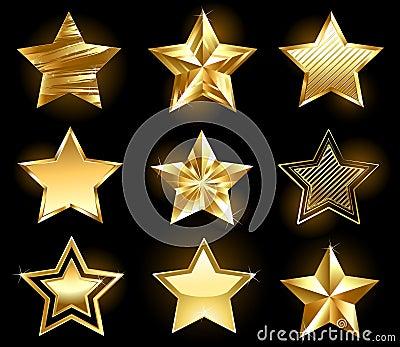 Set of gold stars