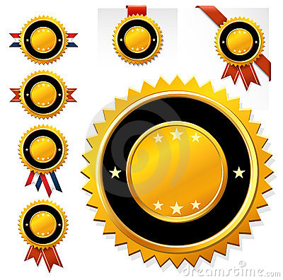 Set golden clear medals with ribbon