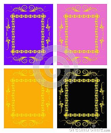 Set of golden floral frames
