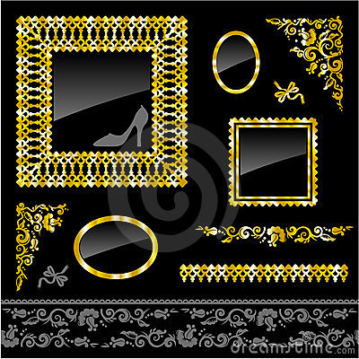 Set of golden frames and design elements