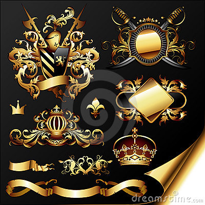 Set of golden heraldic elements