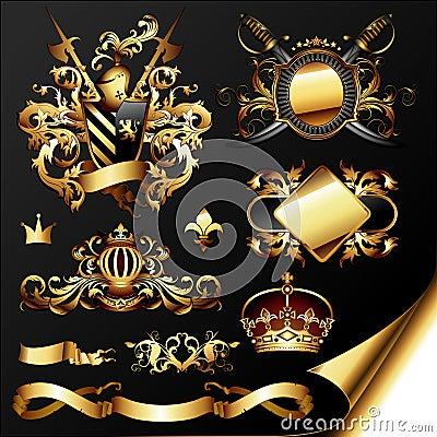 Set of golden heraldic elements